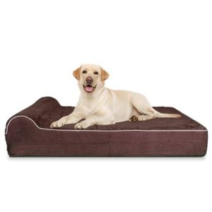 KOPEKS 7-inch Thick High-Grade Orthopedic Odor Resistant Memory Foam Dog Bed with Pillow for labs
