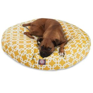 Majestic Pet Yellow Links Large Round Indoor Outdoor Pet Dog Bed with Removable Washable Cover for incontinence